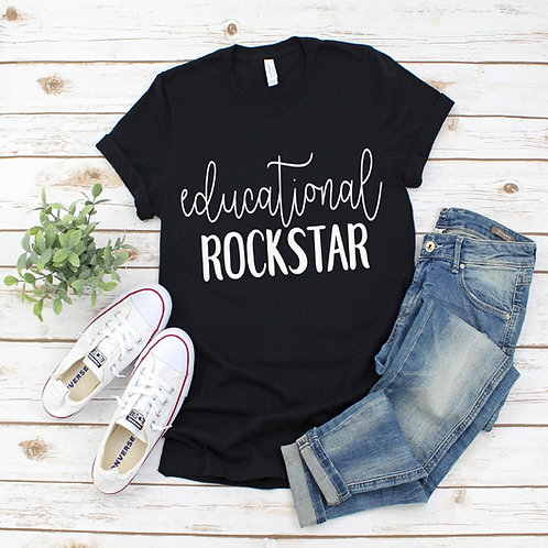 Educational Rockstar graphic tee in solid black.