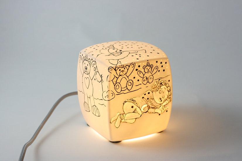 """Passage secret -Veilleuse Cube Bêtise """"la fête des ours"""""""