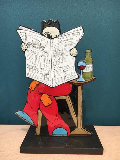 Peytour-Quendolo «Statuette Homme au journal»
