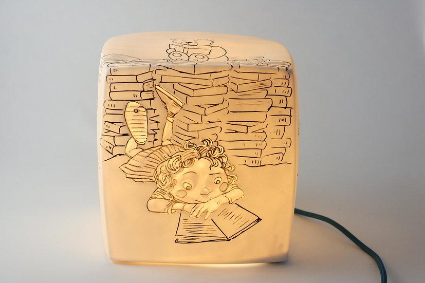 """Passage secret -Veilleuse Cube Bêtise """"vive les livres"""""""