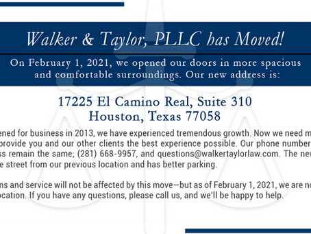 Walker & Taylor, PLLC has Moved!