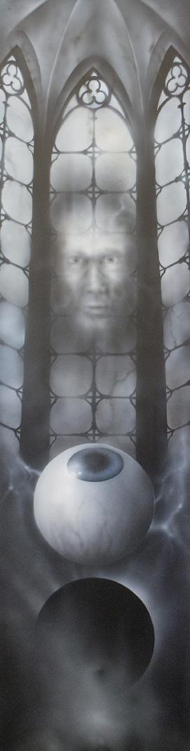 Occular Vacuum 4'x 1' acrylique sur pann