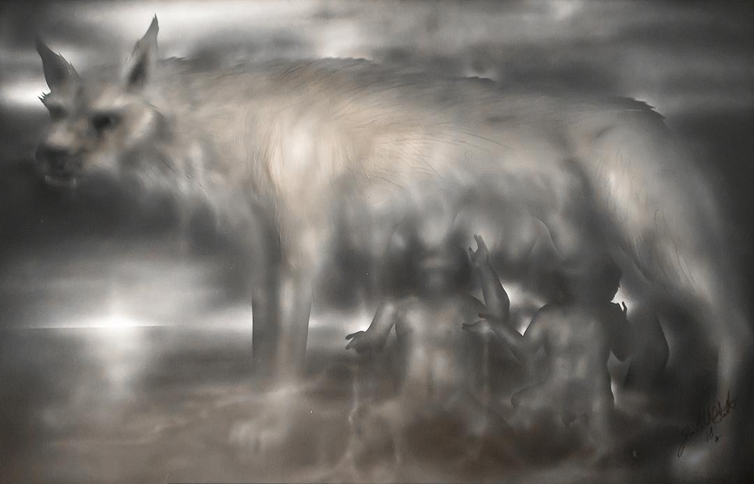 Romulus and Remus 2'x 3' acrylique sur p