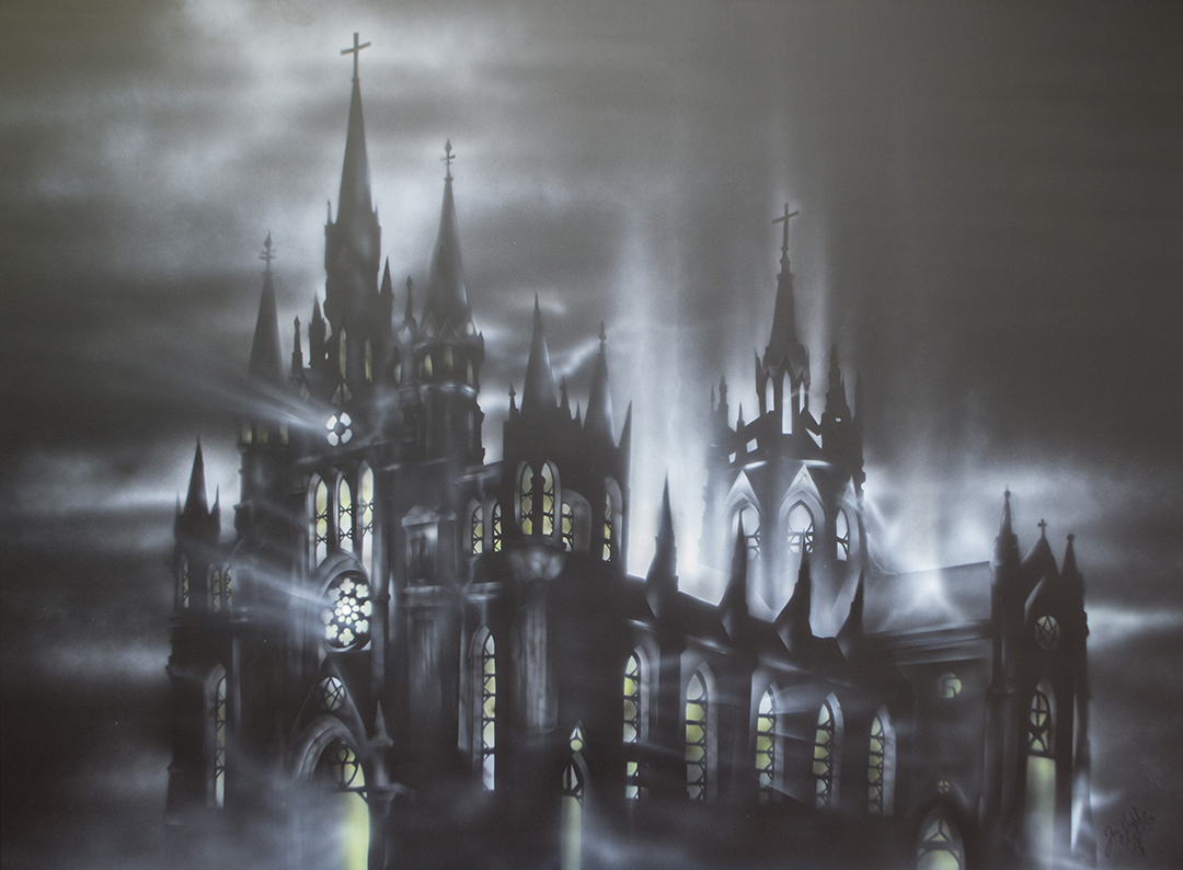 Cathedral of will 3'x 4' acrylique sur p