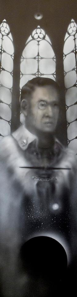 Black Chancellor 4'x 1' acrylique sur pa