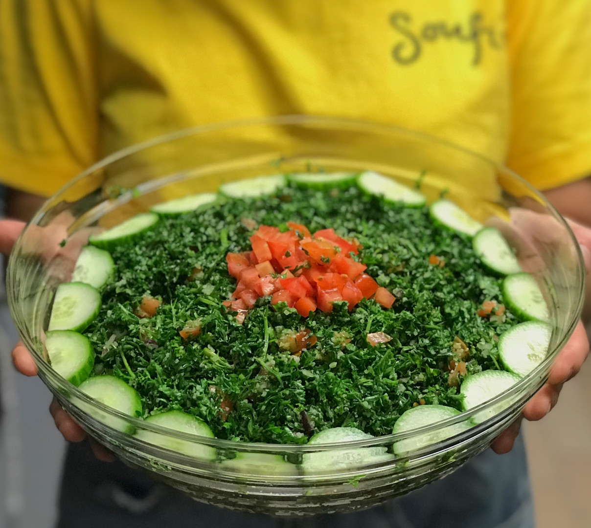Party-sized appetizer bowls [Tabouleh salad]