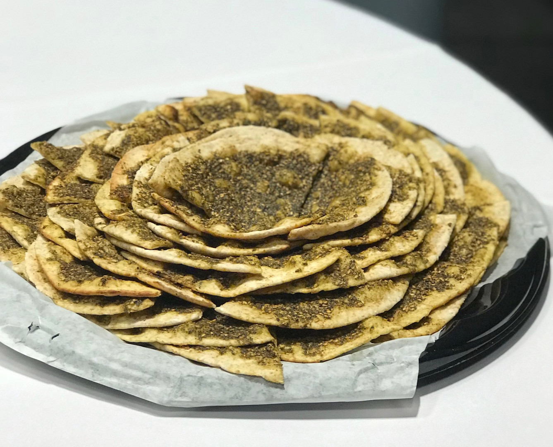 Zaatar manaeesh beautifully arranged on a platter!