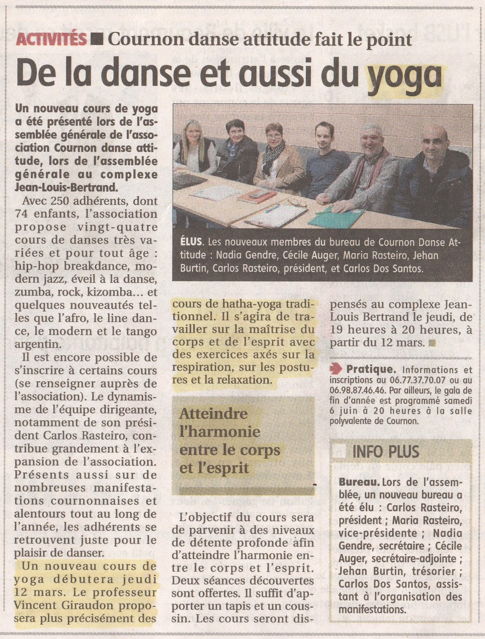 Yoga avec Cournon Danse Attitude - Février 2020
