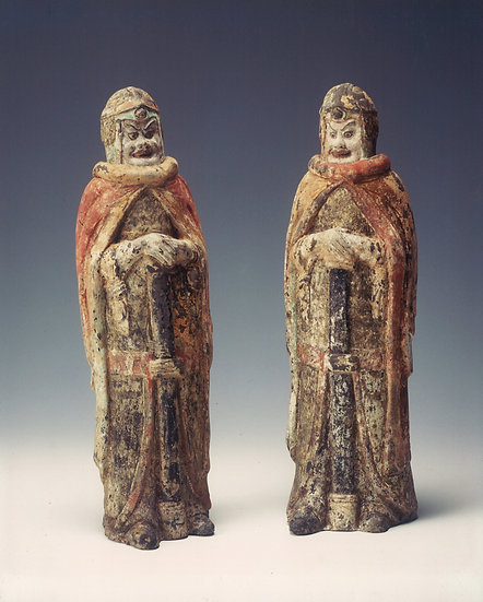 Pair of Northern Wei (386-534 AD) painted terracotta soldiers.