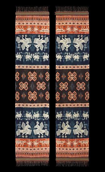 1970s Pair of Hinggi Kombu, man's ceremonial shawl