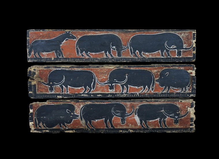 1920's Wall panel wood carved with buffalos