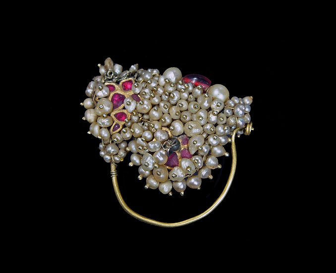 19th century nose ring of Barsa pearls