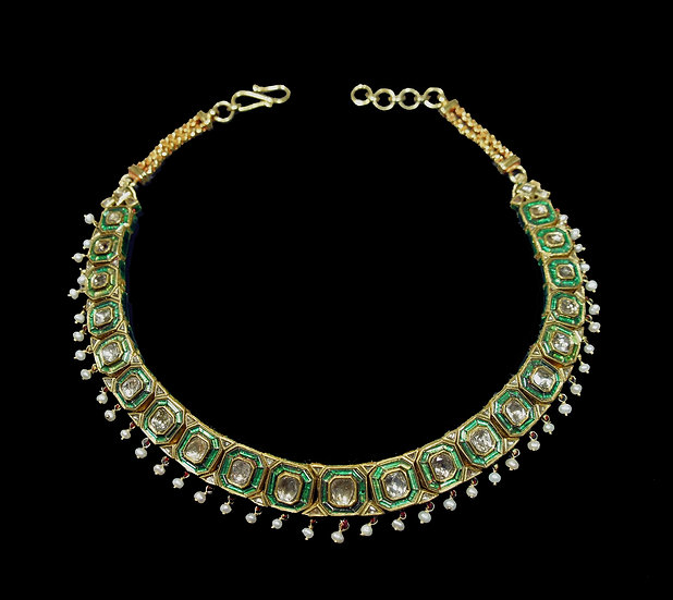 New Choker of table-cut diamonds, pearls, and enamel