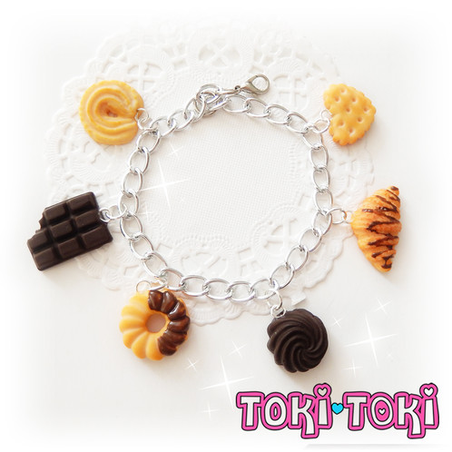 This Lovely Bracelet Is Perfect For Tiny Food Each Charm Looks Very Realistic And Yummy Charms Are Fully Handmade By Me From Polymer Clay