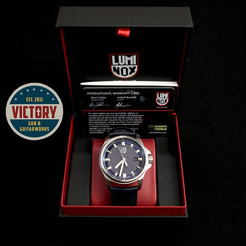 Factory New Luminox XL 1834 Field Dress Stainless W/ Navy Leather Strap Watch