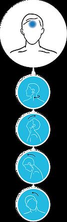 Neck range of motion, moton quality rehabilitation