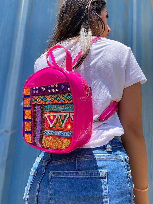 Mini Bonbon Cross Body Backpack Metallic Pink