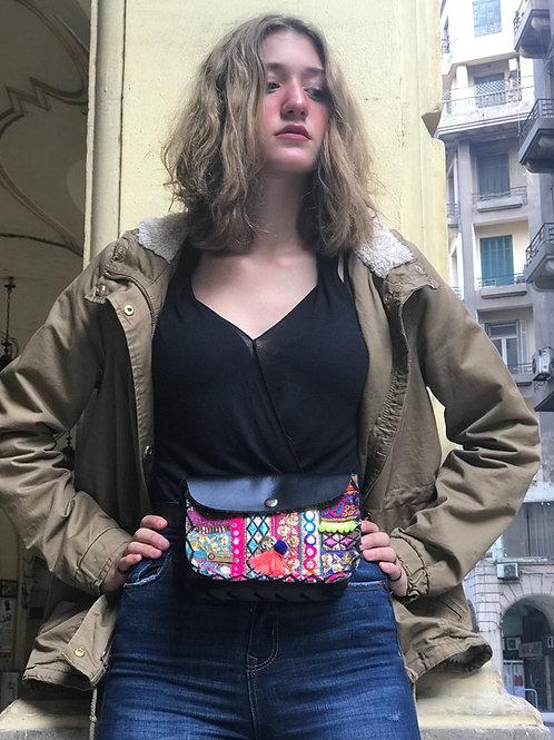Genuine Leather Waist Bag Thin Belt Black