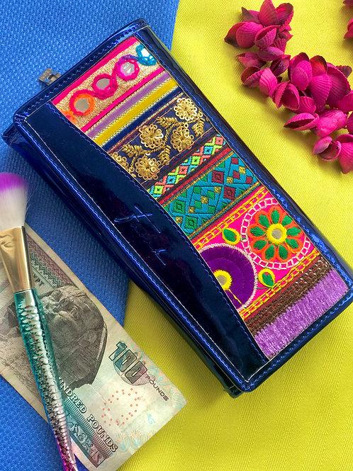Eve Wallet Metallic Blue
