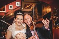 Craig Halliday Violinist with the Happy Bride at Falcon Manor