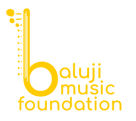 Baluji Music Foundation Logo. The B looks like a sitar