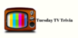 """Tuesday TV Trivia"" besde an old TV with rainbow screen"