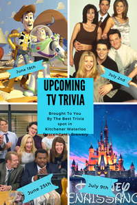 A poster with The Trivia Themes for the next 4 weeks at Descendants craft brewery. Toy Story, Friends, The Office and Disney Renaissance