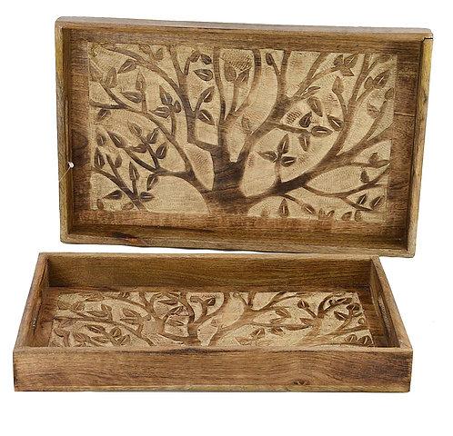 Vassoio legno intarsiato a mano 37x20