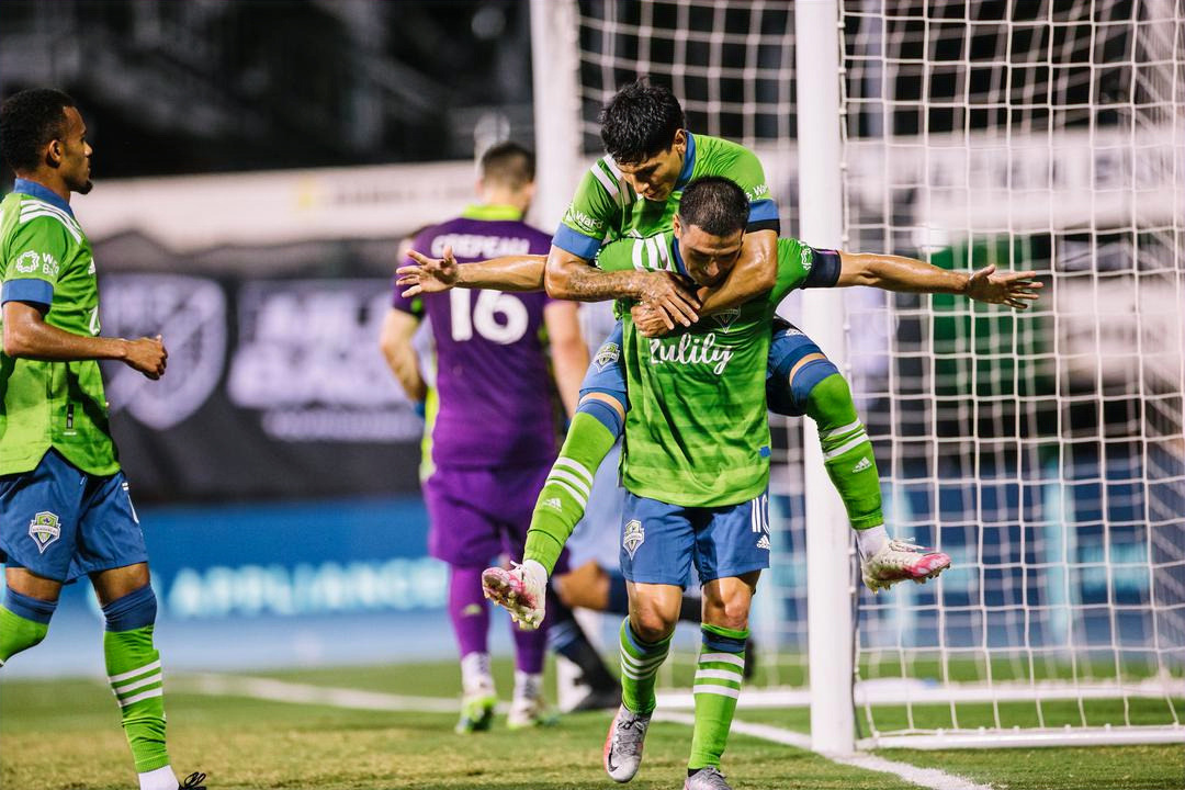 Seattle Sounders celebrations as they advance to the knock out stages of the MLS is Back Tournament