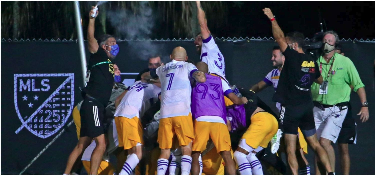 San Jose celebrations in the MLS is Back Tournament
