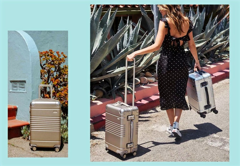 Women travels with the cool Arlo Skye carry-on luggage