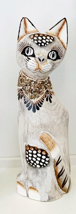 Gatto in legno 40 cm