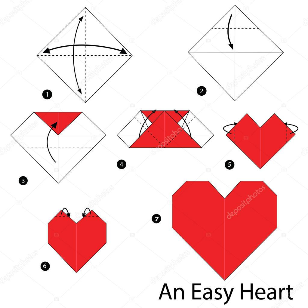 How To Make A Fancy Origami Heart - Folding Instructions - Origami ... | 1024x1024