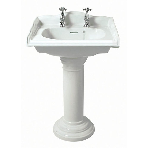 Victoria Traditional square 585mm Basin and pedestal 1 or 2 tap hole