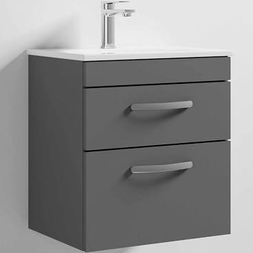 Athena 500mm Gloss Grey 2 Drawer Wall Basin and Unit