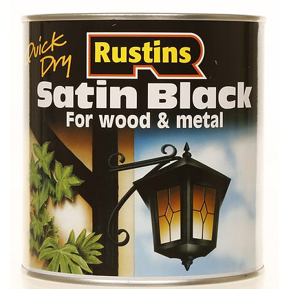 500ml Rustins Quick Dry Satin Black Paint