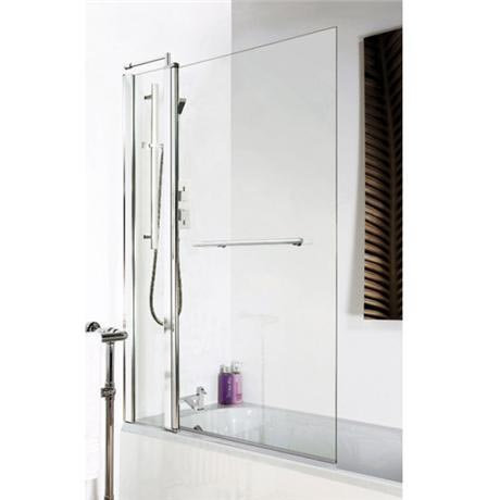 Square Hinged Double Bath Shower Screen With Towel Rail 1000mm x 1400