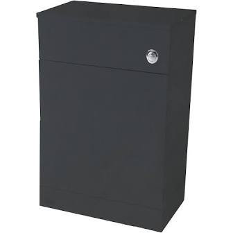 Lanza 500mm x 300mm Gloss Anthracite WC Unit & Concealed Push Button Cis