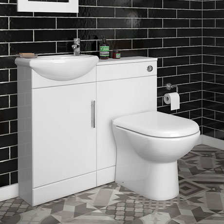 Sienna D 920mm High Gloss White Vanity Unit Cloakroom Suite plus D-shaped WC