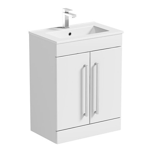 Lilly 600 White Gloss 2 Door Unit & Ceramic Basin