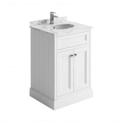 Cromford White 600mm unit, marble top & basin