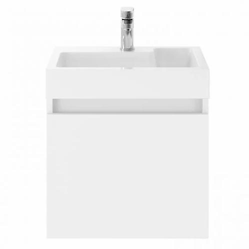 Merit Gloss White 500mm Wall Unit and Basin