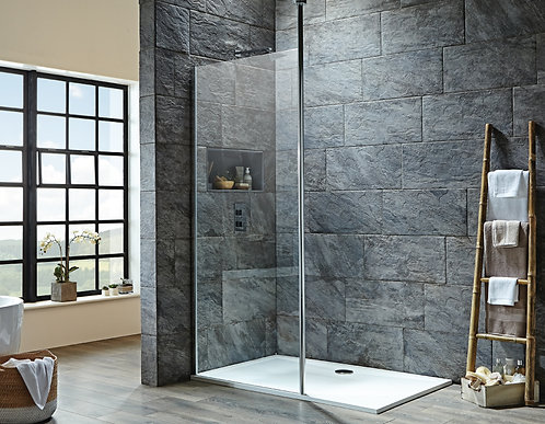 S8 Wetroom Screen With Floor To Ceiling Support