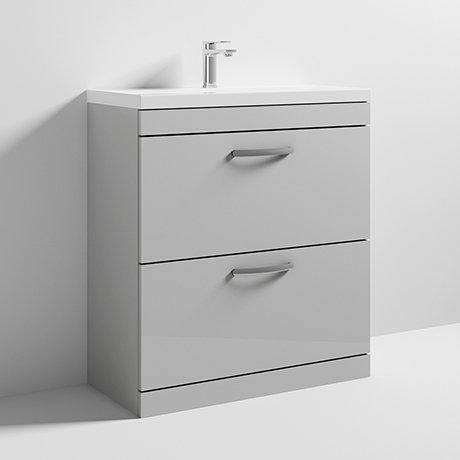 Athena Grey Mist Gloss 800mm 2 Drawer Unit and Basin ATH079A ATH079B