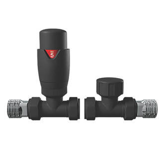 Anthracite straight thermostatic radiator valve pack