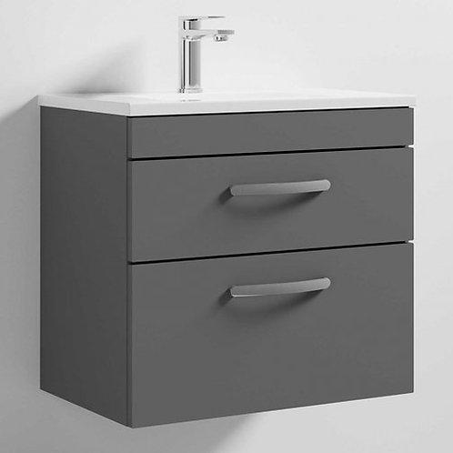Athena 600mm Grey Gloss 2 Drawer Wall Basin and Unit