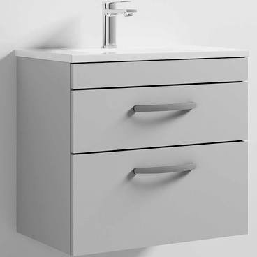 Athena 600mm Grey Gloss Mist 2 Drawer Wall Basin and Unit