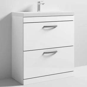 Athena gloss white 800mm 2 Drawer Unit and Basin ATH055A ATH055B
