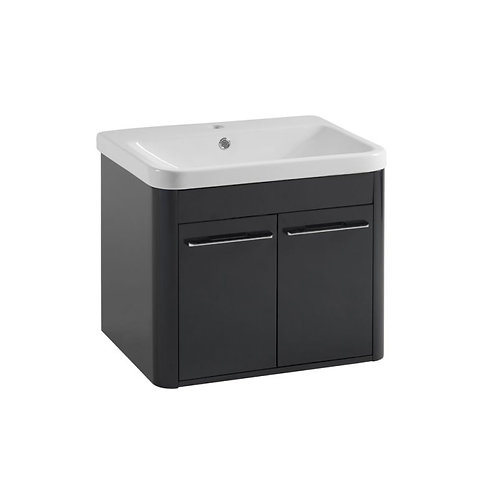 Tour Anthracite 600mm Wall Mounted Unit & Ceramic Basin