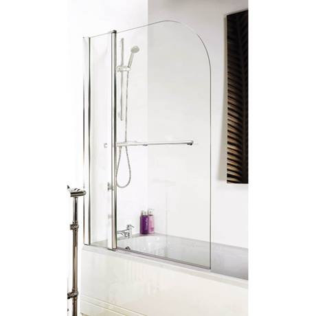 Hinged Round Double Bath Shower Screen With Towel Rail 1000mm x 1400